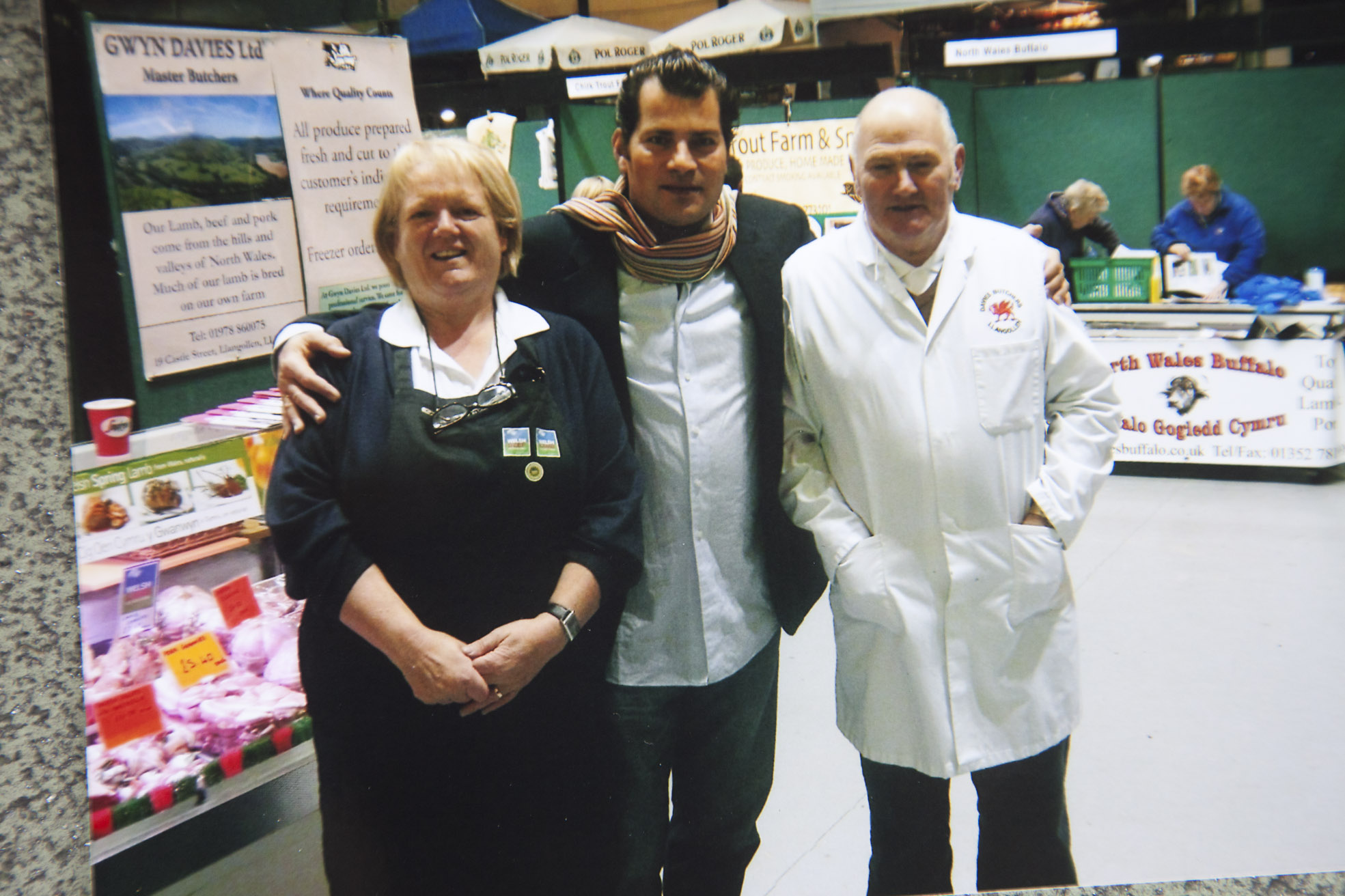 Gwyn and his late wife Heather at the Llangollen food festival a couple of years ago when they met Chef Ed Baines