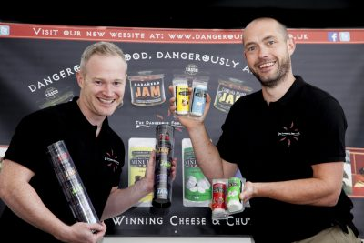 DENBIGHSHIRE COUNTY COUNCIL GRANT SCHEME. Pictured from the Dangerous food company are Dominic Haynes  and  Llyr Jones who have now expanded and are selling cheese products with the help of a grant from Denbighshire council.